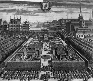 Kungsträdgården vid slutet av 1600- talet. Skapad av den berömda och reformerta trädgårdsmästaren André Mollet.