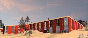 Så här ser förslaget till hotellbyggnad ut, sett från Järvsöhållet. Hotellet är i fyra våningar åt det hållet, två åt det andra. Det är byggt med två vinklar så att det får två gårdsrum.