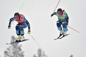 Anna Holmlund och Sandra Näslund när duon slutade etta och trea på Idre Fjäll i vintras..