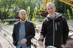 Christian Thunarf och Cristian Jansson vid Stora Valls nya utegym.