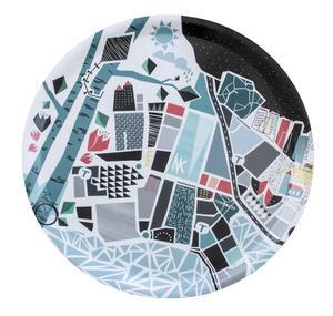 """Brickan """"Stockholm"""" är en fantasifull tolkning av en Stockholmskarta, designad av Wallmark Formstudio."""
