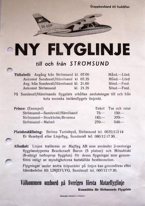 En flygtidtabell från 1969.