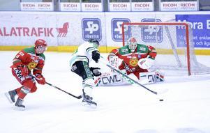 Här ser vi Dan Bakala mot Rögle. Den kanadensiska målvakten är med stor sannolikhet förlorad för Mora IK.