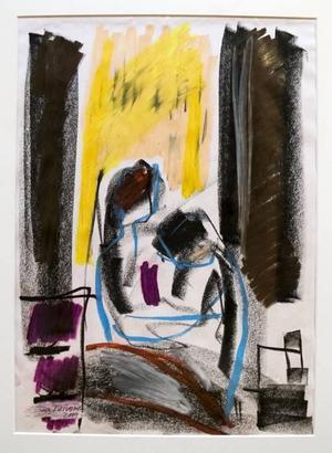 """""""Abstraktion av Munchs 'Sjuk flicka' IV"""". Oljepastell på sorgetema."""