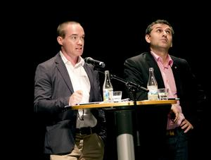 Europadagen. Kent Ekeroth (SD) och Metin Rhawi (S).