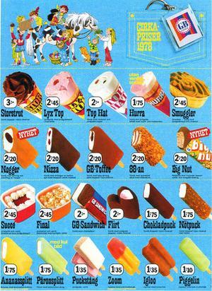 1978  fanns Succé och Final, glassen i de små plastbägarna och snygg dekorering.