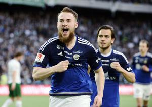 Rúnar Sigurjónsson efter att ha kvitterat till 1–1 mot Hammarby tidigare i år.