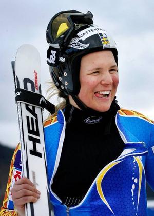 Det vara en nöjd Anja Pärson som kom ner i målfållan efter gårdagens störtloppsträning.