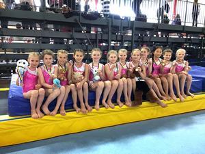 De tolv gymnasterna från BGK stod för fina prestationer i Falutävlingen Mörksuggan.
