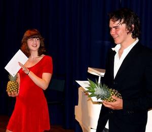 Agnes Kågström och Tom-Eddye Nordén fick på söndagen motta 10000 kronor vardera ur Sidnerska donationsstiftelsen