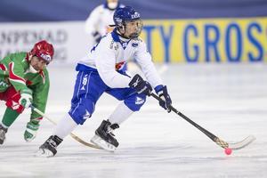 Tuomas Määttä under kvartsfinalen mellan Finland och Vitryssland vid bandy-VM i ryska Uljanovsk.