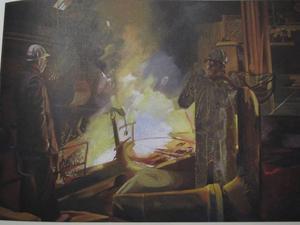 Oljemålning av Hans Tollsten från Borlänge. Den första pristagaren. Motivet är hämtat från Domnarvets järnverk.