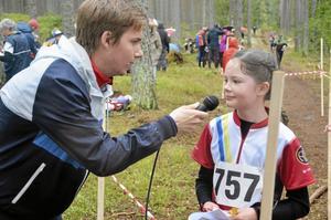 Sofie Bodin intervjuades av Martin Sand efter målgången
