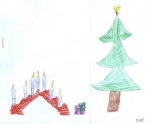 Olle 5år från Gävle, har ritat en adventljusstake, julgran och ett paket. God Jul!