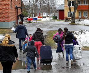 Det var flera familjer som flyttade in i Stöde i går.