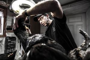 Thomas Jönsson, 48 år, jobbar med de sista detaljerna på en tjädertupp.– Fåglar är roliga att jobba med. Det blir för få sådana jobb, det har ju varit några dåliga fågelår.