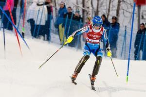 Frida Hansdotter åkte ut i det första åket i St Moritz.