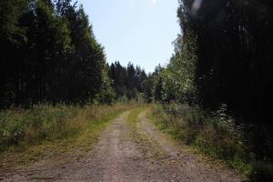 En stig som leder ut ur byn in i skogen.