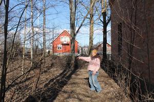 Här, i en skogsdunge vid Lokstallet, vill Åsa Maria Hedberg anlägga en internationell skulpturpark.