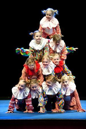 De viga akrobaterna i Ludvika Minicirkus såg nästan ut som en färgsprakande julgran på scenen.