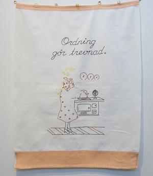 Forsa folkhögskola fyller 100 år i år och det är 99 år sedan de första kvinnorna kom in på textilkurs. En liten del av utställningen blickar tillbaka i tiden. Julia Katarina Nilsson gick på skolan 1937.