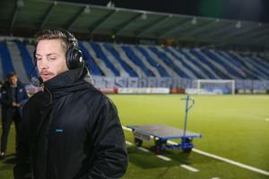 En besviken Axel Kjäll efter förlusten på Östgötaporten.