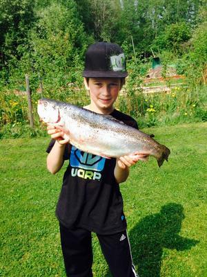 Adam Hahne 13 år i Insjön är en riktig storfiskare, vilket också bekräftas av Adams stolte morfar Börje Karlsson som skickade in tävlingsbidraget till DD-fisket. Den här regnbågen som gav honom en tredje plats i etappen vägde hela 2 700 gram fångade han i Dalälven hemma i Insjön.