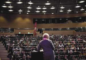 Gudrun Schyman vid Feministiskt initiativs (Fi) kongress på Conventum i Örebro.