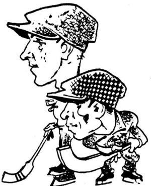 """FÖRSVARARE. Tirfings backpar Emil """"Stabben"""" Holmgren och Ture Jonsson porträtterades i samband med SM-finalen 1930. Teckningar: Waldemar Nyström"""
