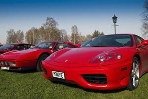 I helgen samlades 13 Ferraribilar, en Maserati och en Porsche, vid herrgården i Kilafors.