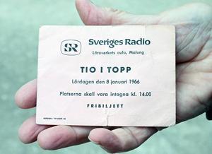 Biljetten från det historiska tillfället.
