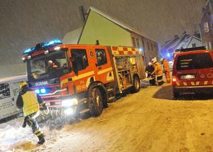 Brandkåren på plats på Blekegatan i Ystad 2010.