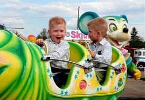 Linus och Mikael Eriksson från Nyland gillade tivolits åkattraktioner.