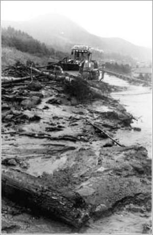 Räddningstjänstens bild av raset vid Östlienbäcken från september 1988 kunde lika gärna ha tagits i fredags. Det såg exakt likadant ut.