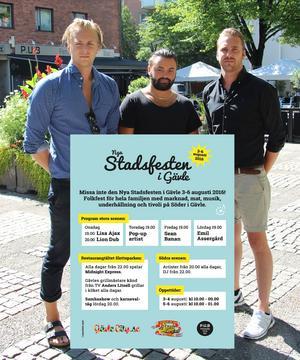 Schemat för Stadsfesten 3-6 augusti.
