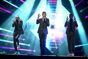 Robin Bengtsson med I Can't Go On under fredagens generalrepetition inför Melodifestivalens tredje deltävling.