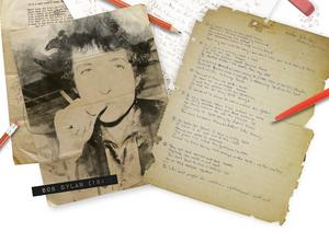 I början av 1960-talet skrev Bob Dylan en låt till Izzy Young var stora intresse stavas amerikansk folkmusik. Young, som så småningom flyttade sitt Folklore Center till Stockholm, fick behålla originalmanuskriptet som numera är sålt. Illustration: Johan Hallnäs/TT