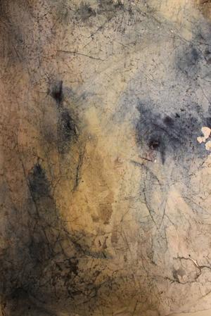 """Face it"". Akvarellmonotypi av Helena Linder."
