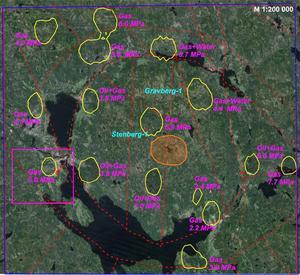 Här har Igrene med satellithjälp identifierat områden där de är tämligen säkra på gas och olja, till och med nära Stenberg där Dala Djuopgas borrade närmaare sju kilometer djupt