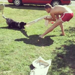 Min sambo Markus och mina föräldrars hund Loke ville ha samma handduk, vilket bara kunde sluta på ett sätt...dragkamp. ;)