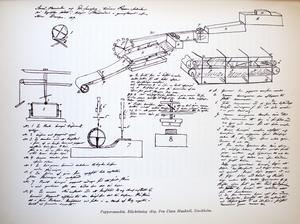 Munktells första ideskiss på en pappersmanskin
