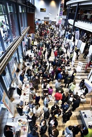 TRÅNGT? Tusentals arbetssökande tog i torsdags chansen att visa upp sig för företagare vid Rekryteringschansen på Läkerol Arena i Gävle.