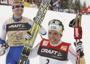 Charlotte Kalla efter segern i Tour de Ski.