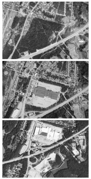 Så har Valbo köpcentrums område expanderat genom åren.