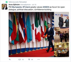 Finlands närvaro på ASEM syntes på twitter.