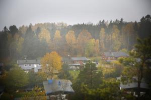 Carl-David Sundstedt och Lars-Örjan Kling säger att de liksom flera grannar valde att bo på Kummelvägen eftersom de aldrig trodde att någon skulle kunna bygga i den kraftigt sluttande skogen upp mot Fornbacken/Fornhöjden, vars platta tak skymtar som en rak kant genom trädtopparna.