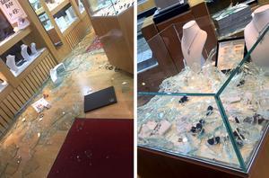 Rånarna slog sönder hela butiken.