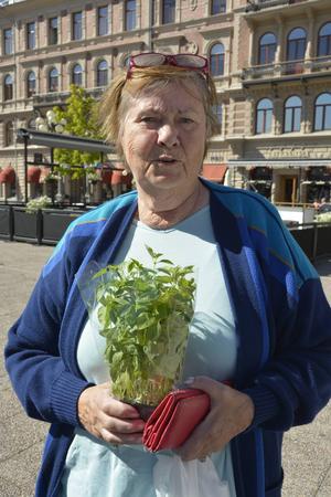 Ingrid Bäckström köpte rökta räkor, flytande honung, färska örter och ost på dagens shoppingtur.