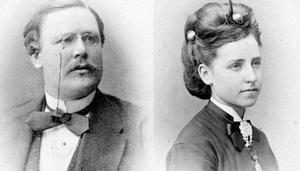 Herman Upmark och hans hustru Julia Rosentvist Upmark hann bara vara gifta i ett år innan Herman dog i samband med ett rånmord. Foto: Haninge hembygdsgille