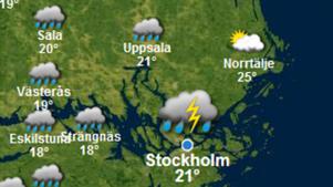 SMHI:s måndagsprognos för torsdagen.